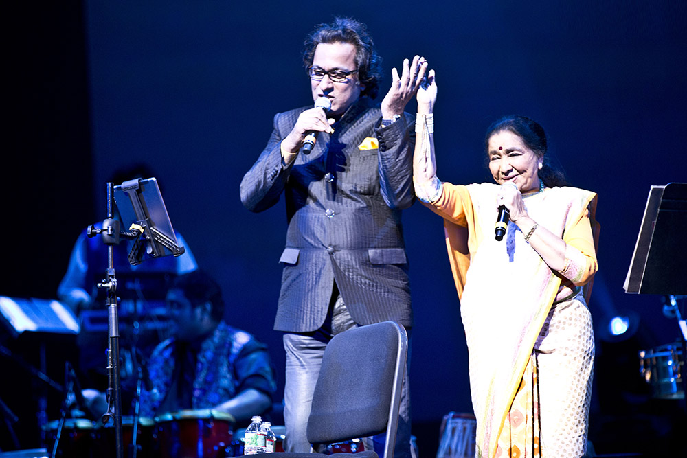 With Asha ji on stage at New Jersey Performing Arts Centre USA  Sep 2015