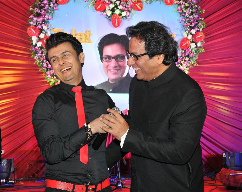 With Sonu Nigam on Talat Aziz's birthday 2015