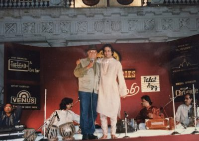 "with Late Amrish Poori at launch of album ""Mehboob"" 1997 Hyderabad at Falaknuma Palace"