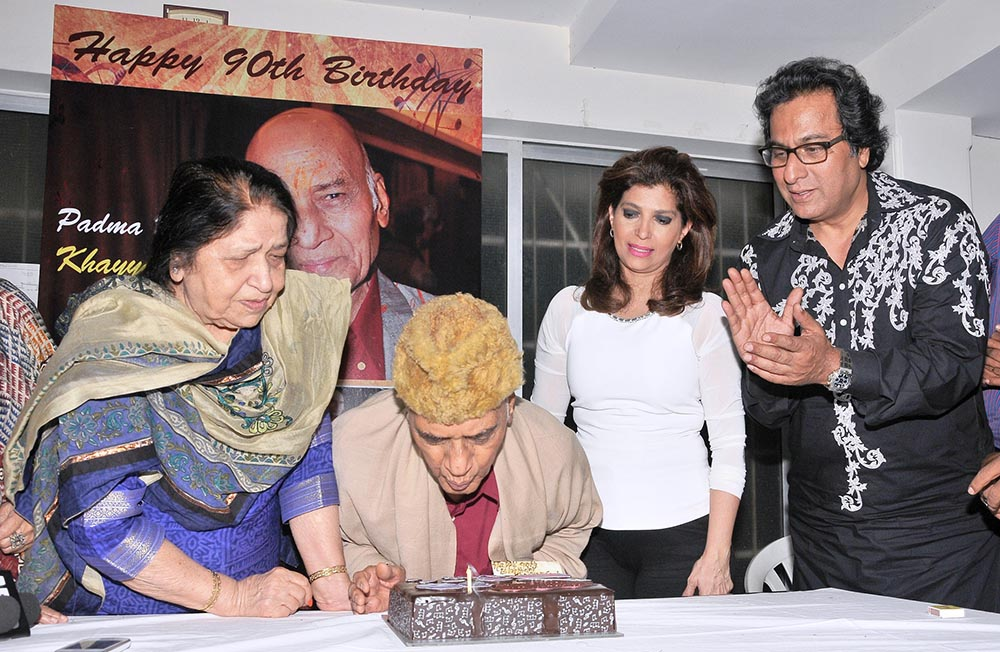 With Khayyam Saheb on his 90th birthday 2015
