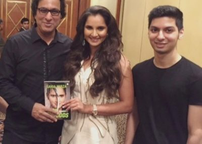 "With Sania Mirza and son Shayaan Aziz at her book launch ""Ace against Odds"""