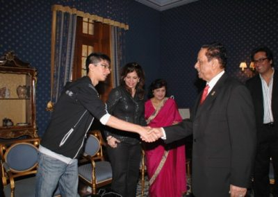 The President welcoming Shayaan