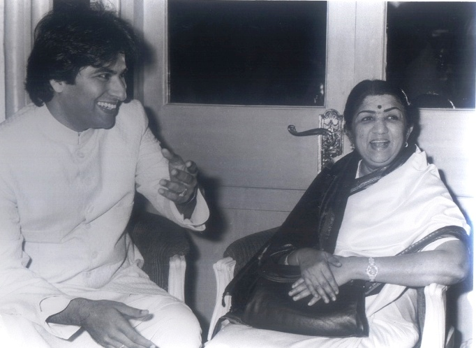 With Lata Mangeshkar ji 1988.