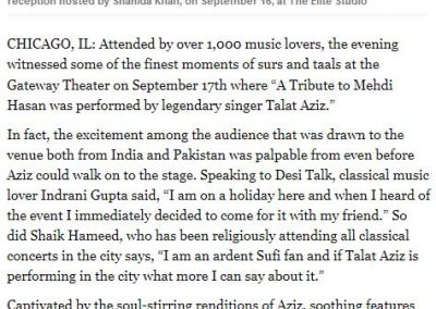 Tribute to Mehdi Hassan King of Ghazal by Talat Aziz in Chicago